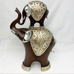 """10"""" Faux-Wood Trunk Up Elephant with Calf Decor"""